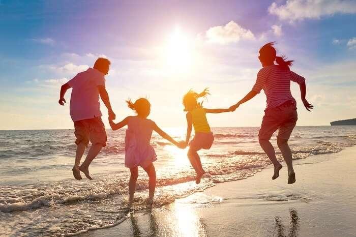 family enjoying during holiday