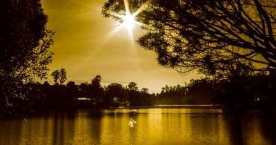 lake shining golden during sunset
