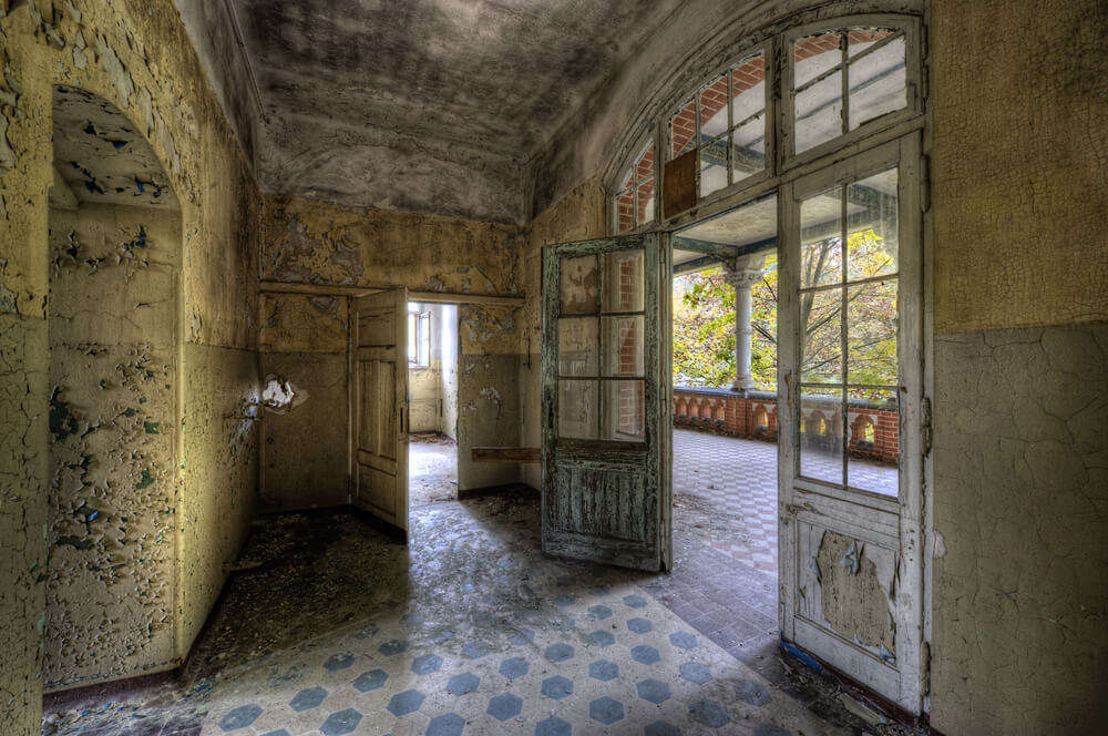 corridor of an abandoned hospital