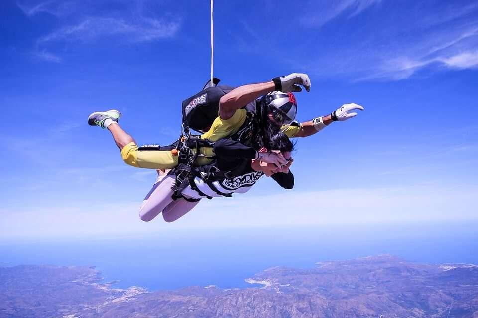 two men tandem skydiving
