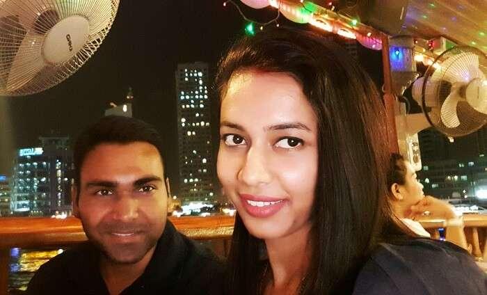 Couple enjoys Marina Cruise in Dubai