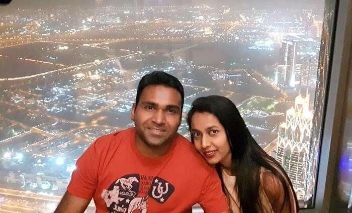 Couple at Burj Khalifa, Dubai
