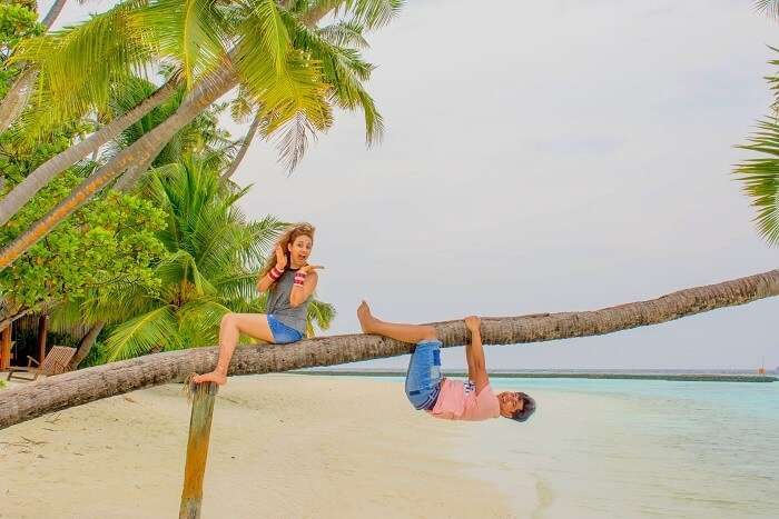 ankit wadhwa maldives honeymoon: photoshoot island tree