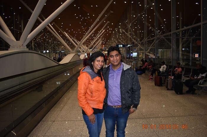 couple at bali airport