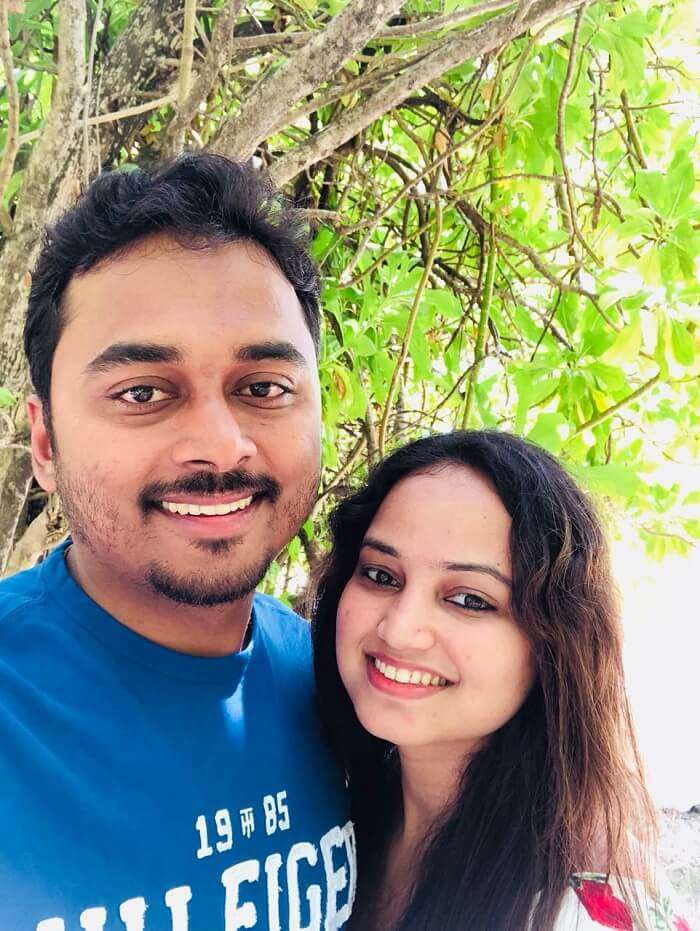 nihal and his wife at the sun island resort maldives