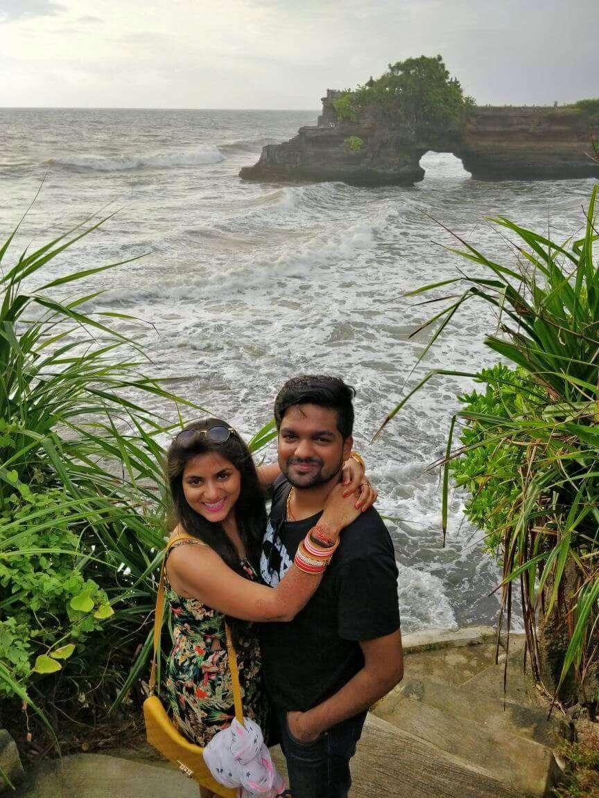 tushar honeymoon trip to Bali: near tanah lot temple