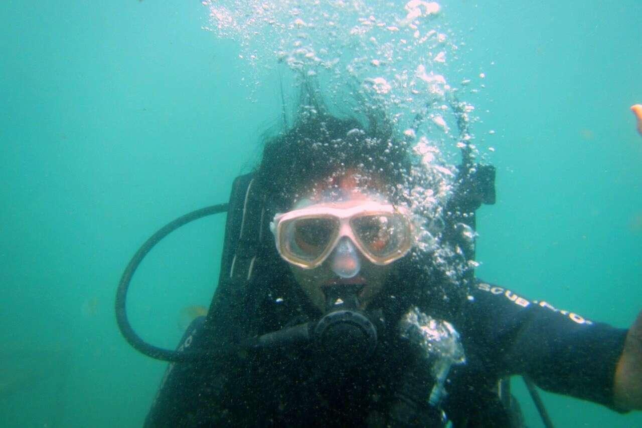 tushar honeymoon trip to Bali: tushar under water