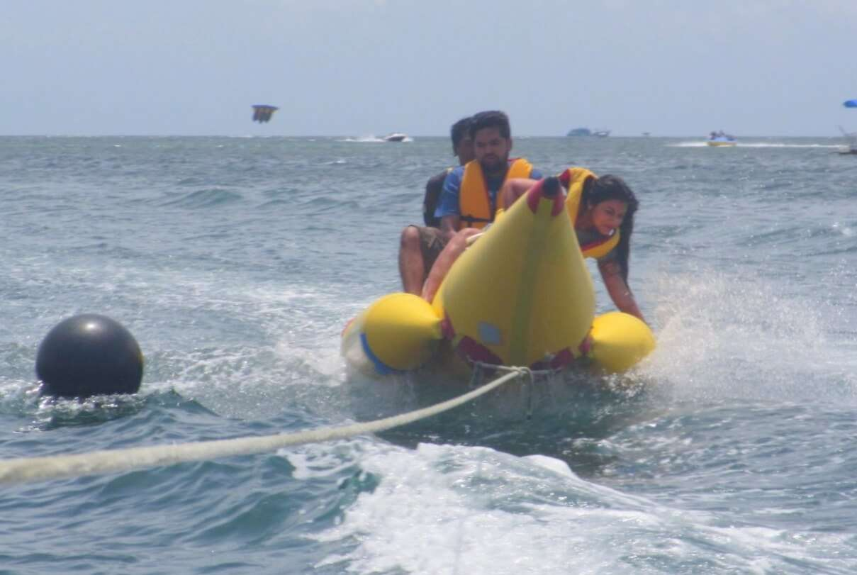 tushar honeymoon trip to Bali: tushar & wife banana boat