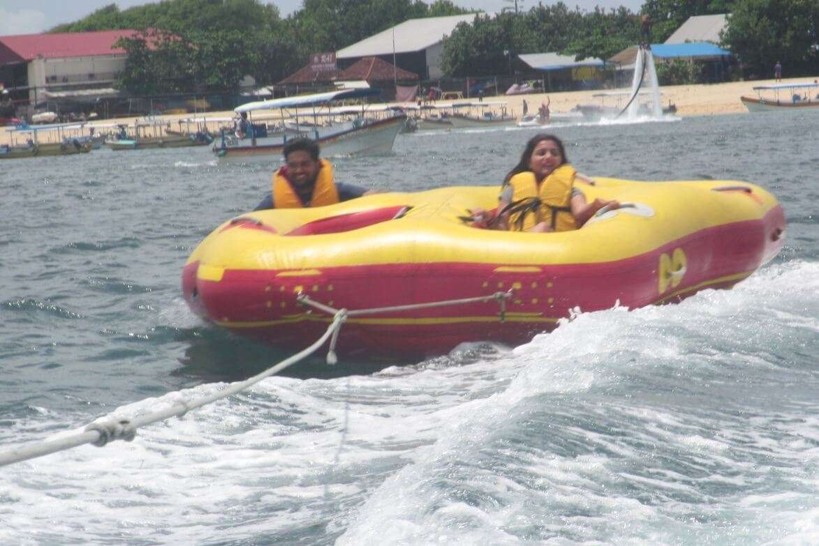 tushar honeymoon trip to Bali: tushar & wife tube ride