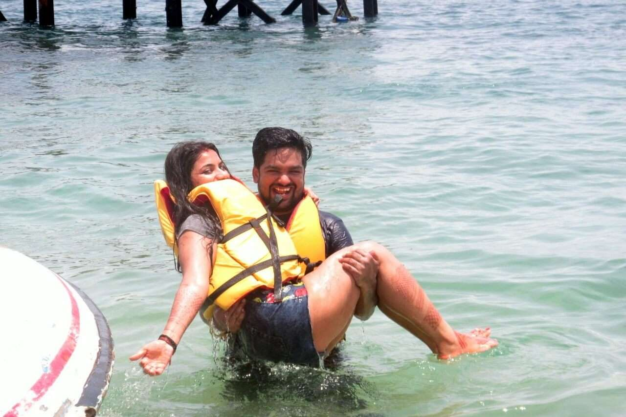 tushar honeymoon trip to Bali: romantic moment while doing watersports