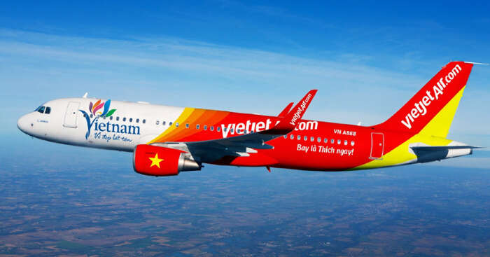 plane of vietjet in sky