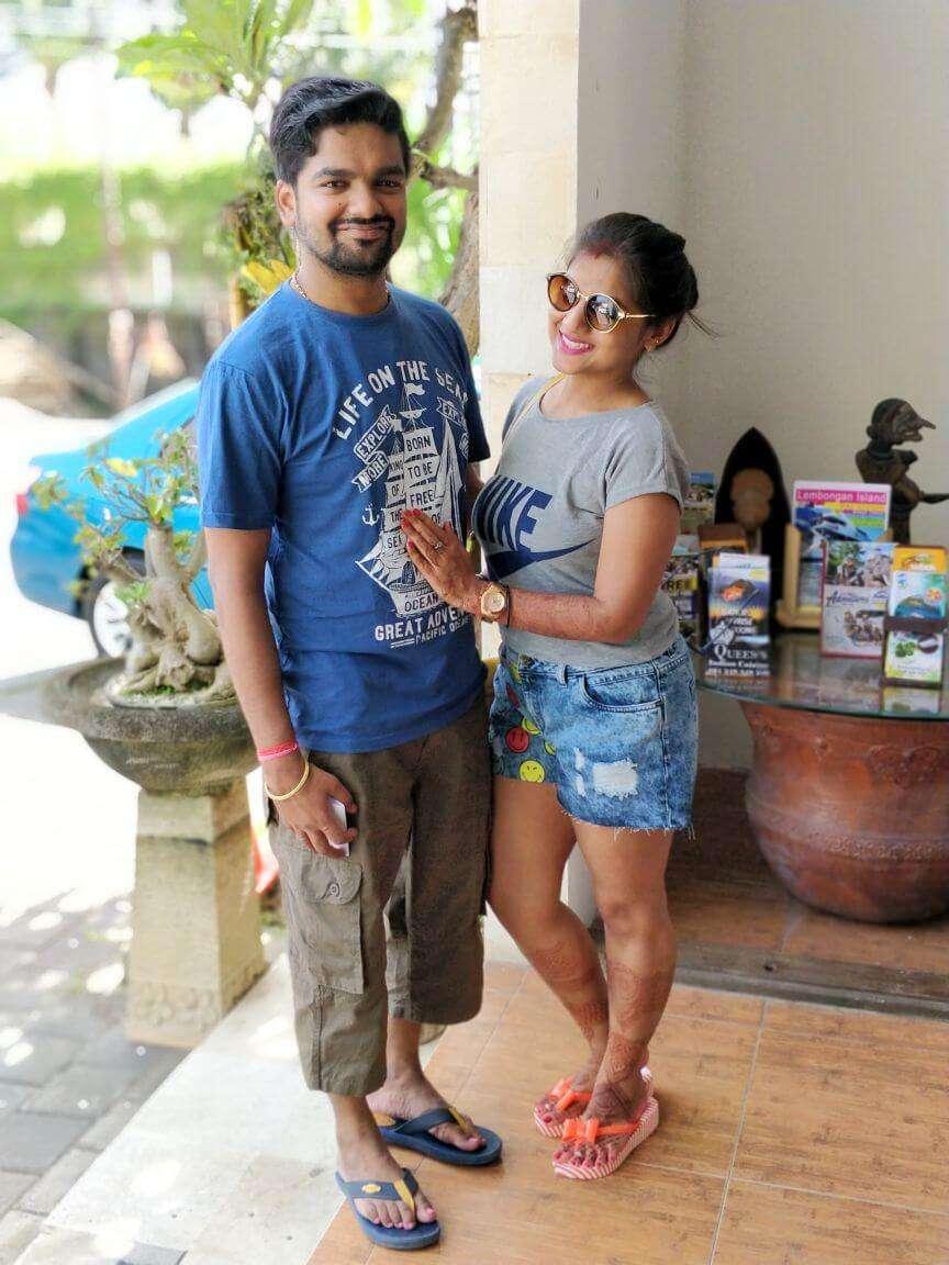 tushar honeymoon trip to Bali: tushar & wife before animal safari