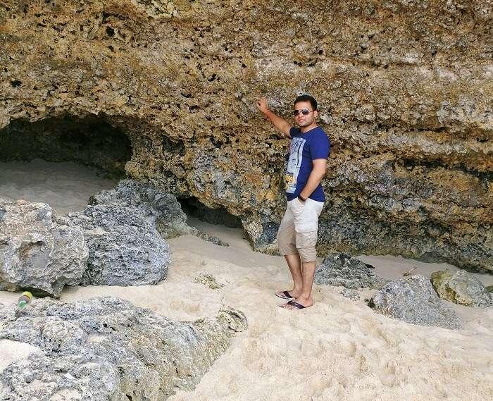 traveler on a beach