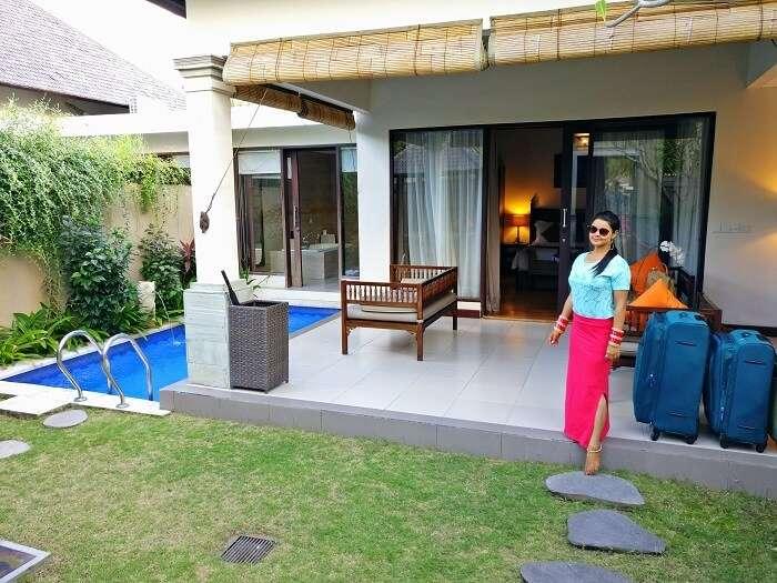 Couple at a private pool villa