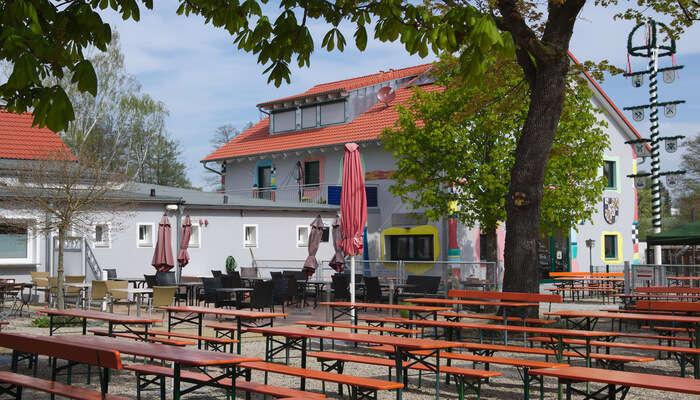 Chug beer in the Mullner Brau Beer garden