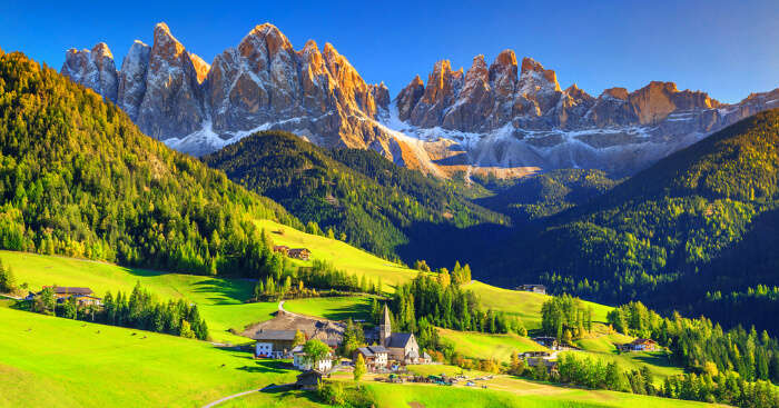 the green meadows of alps mountains