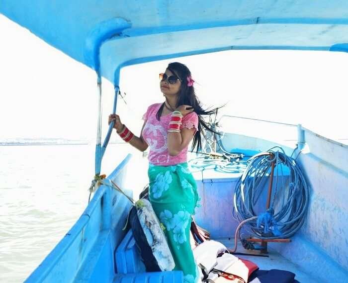 Traveler in a boat