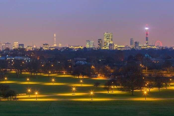 Primrose Hill at night in london