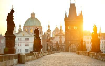 A view of Charles Bridge in Prague at the sunrise