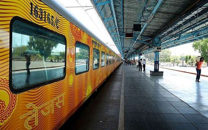 Indian Railways's new train Tejas to be flagged off from Mumbai for Goa tomorrow, arrived in platform number 18 of CST on Sunday morning. Express photo by Nirmal Harindran, 21st May 2017, Mumbai.