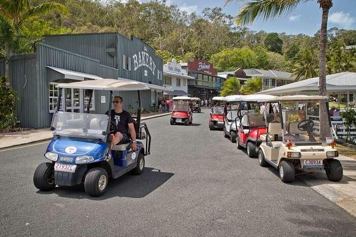 Golf Buggies at Hamilton Island, Australia