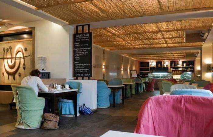 Inside of the Anokhi cafe