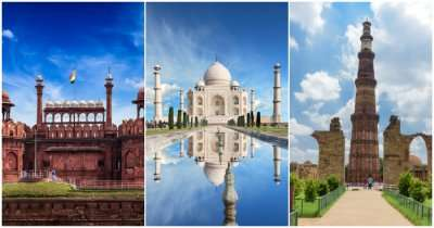 collage of three Indian monuments