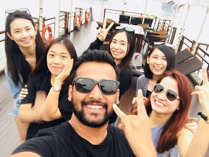 pallavi vietnam family trip: with malaysian friend on the cruise