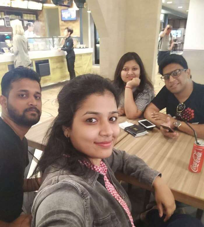 pallavi vietnam family trip: dining at airport
