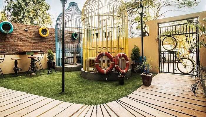 Cage seating at garden