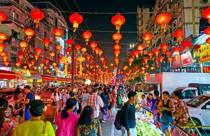 chinatown night market in myanmar