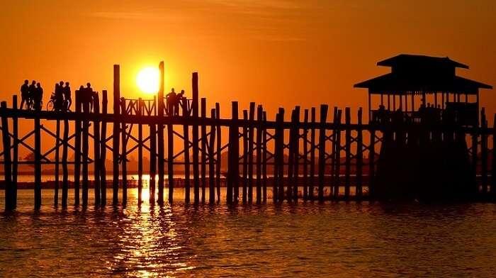 sunset from u bein bridge