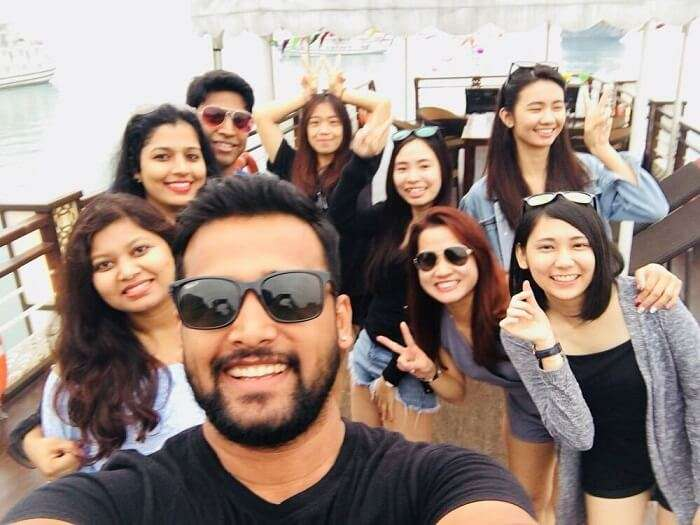 pallavi vietnam family trip: with malaysian friend in cruise