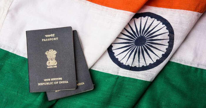 Indian passport on national flag