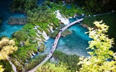 A top view of Plitvice Lakes National Park