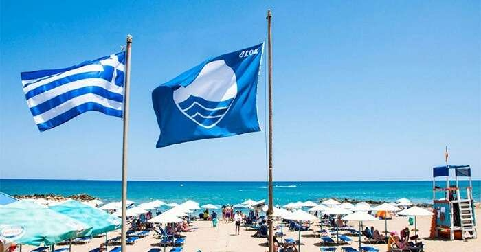Blue flag on a European Beach