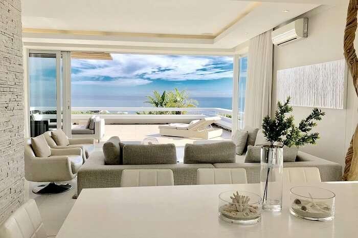 Aquatic villa living rooms
