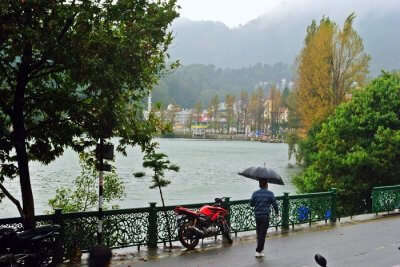 naini lake nainital in monsoon rain