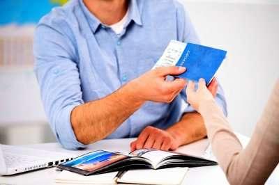 woman applying for visa at airport