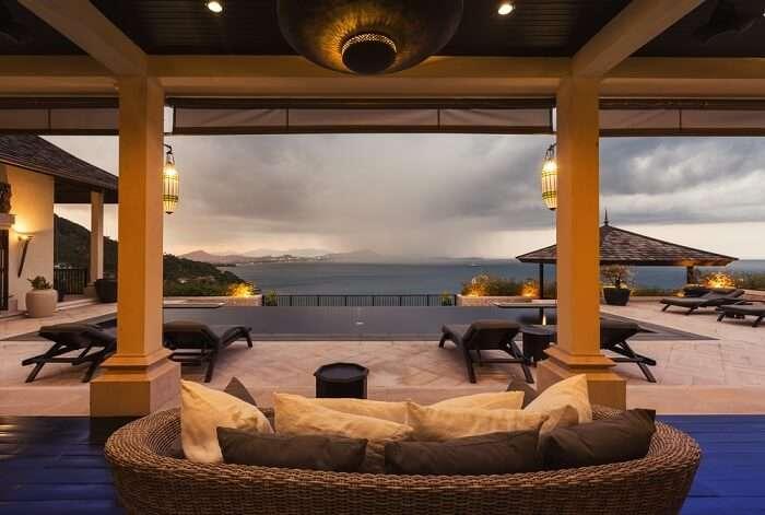 Balcony overlooking sea