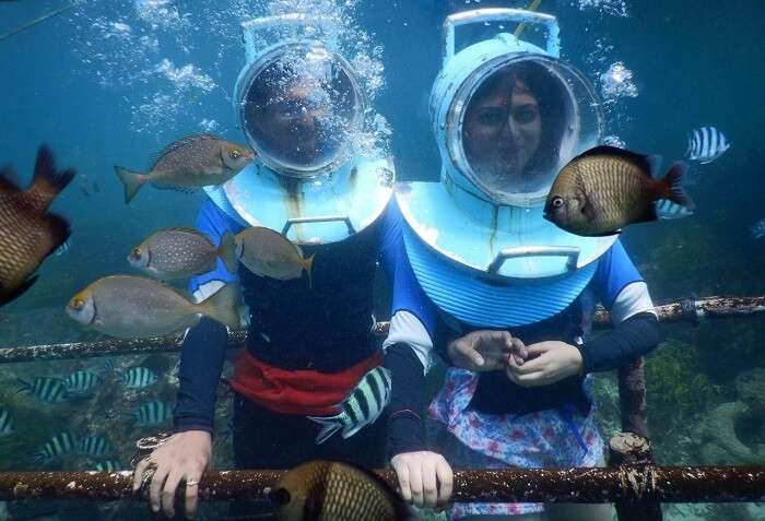 Couple enjoying seawalking in Bali