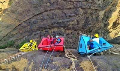 Cliff Camping At Sandhan Valley Hanging Tent