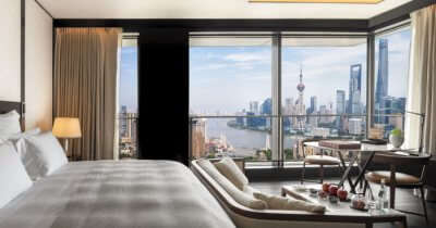 a room in Bulgari hotel in Shanghai