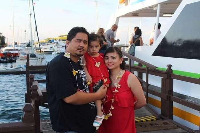 family on Bali cruise