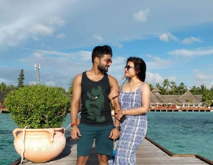 couple getting clicked in maldives