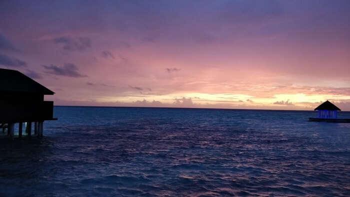beautiful view of maldives at sunset