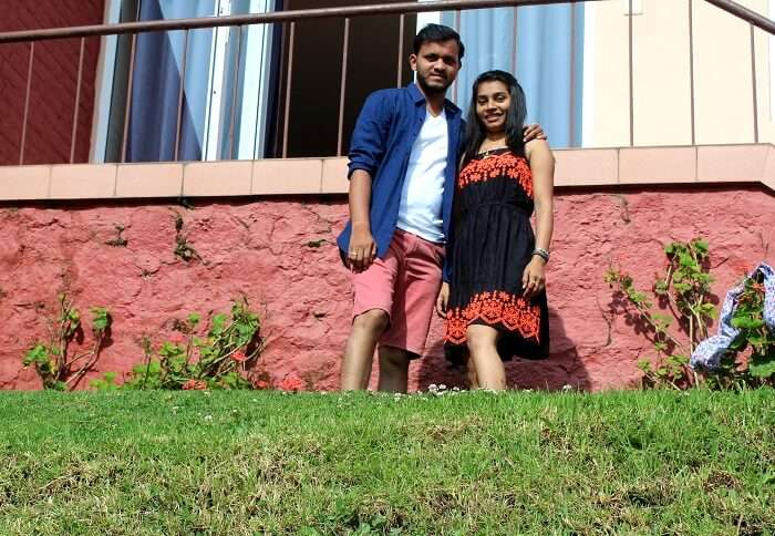 couple outside hotel in coonoor