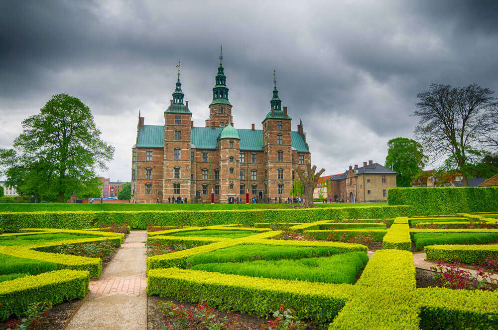 Rosenborg Castle with green lawn