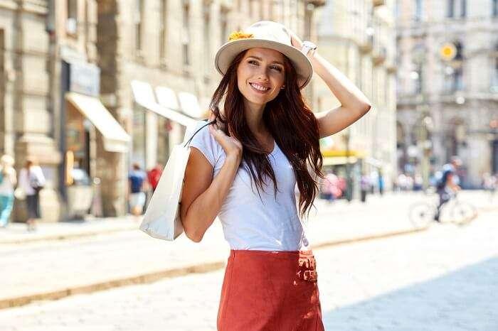 Girl Holding Shopping Bag in Rome