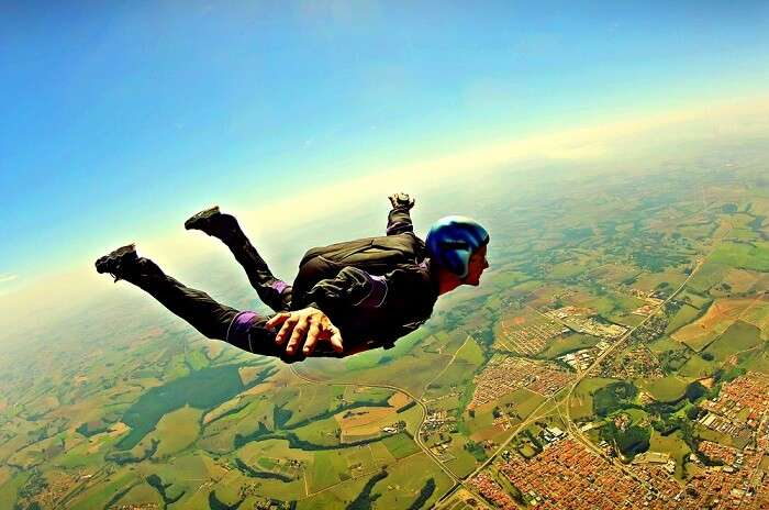 man during skydiving